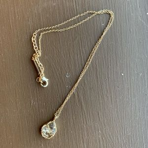 Clear crushed stone gold pendant Kendra necklace